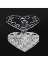 Подставка под кисти на 12 ячеек (серебро, сердце)